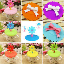 Random Delivery Cute Cartoon Anti-dust Silicone Glass Cup Cover Mug Suction Seal Lid Cap
