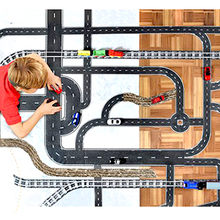 free shipping DIY road rail belt sticker road toys Children 's educational toys car train road scene construction planning game(China)
