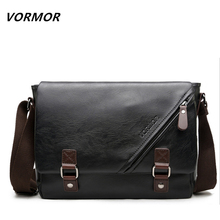 VORMOR Promotional Men Messenger Bag Vintage Large Horizontal Black Satchel Bag With Double Belt Casual Mens Handbag Hot