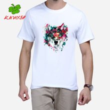 Summer Lion Watercolor Animals Design Mens T Shirt high quality Graphic Printing Tee shirt Hipster KANYSP