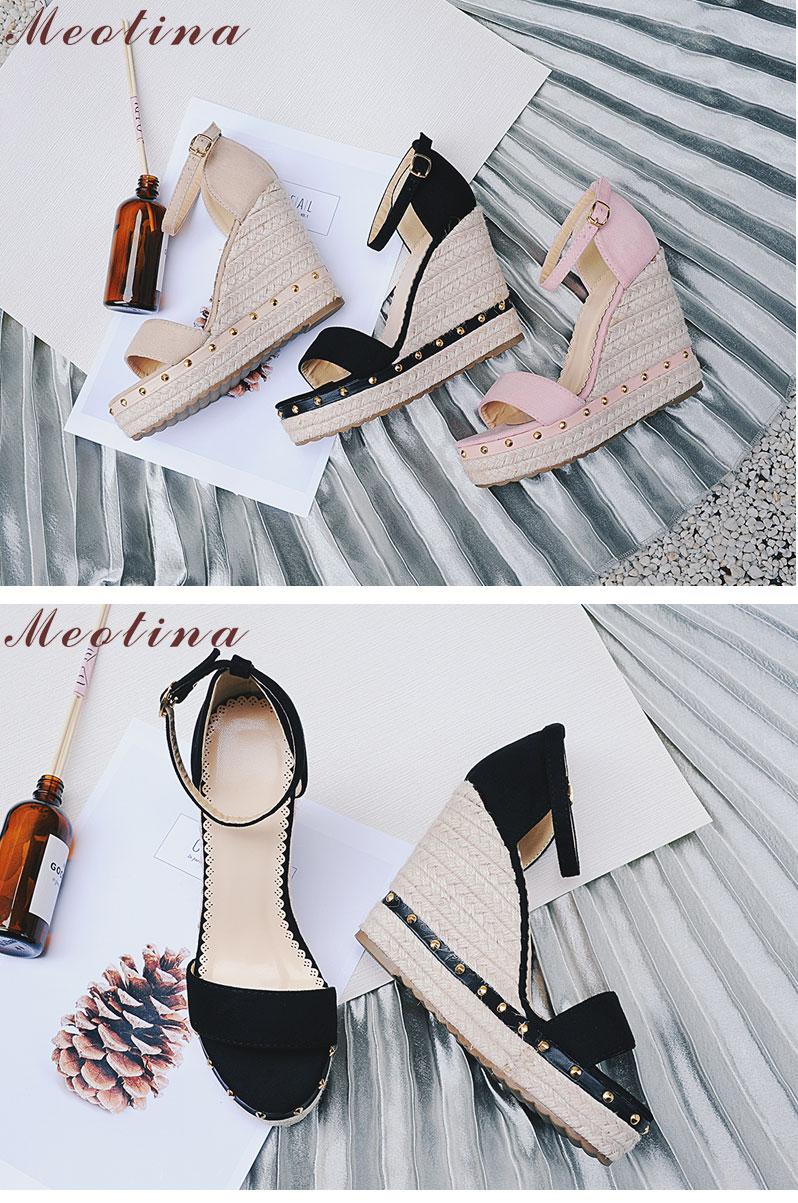 Women's Sandals, Platform Sandals, High Heels Shoes, Ankle Strap, Ladies Sandals Rivet Casual Footwear 12