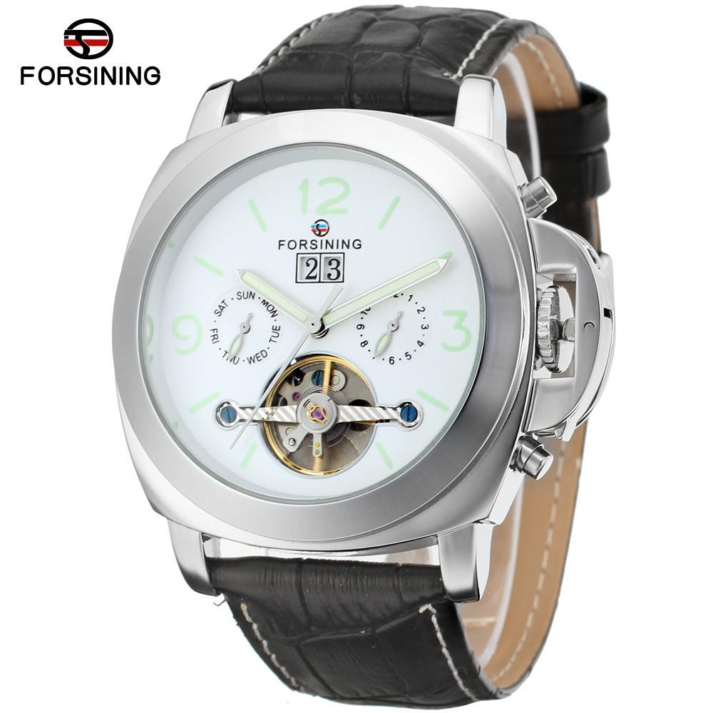 FORSINING  Mens Watch Classic Tourbillion Automatic Leather Calendar Analog Dress Wristwatch Color White  FSG005M3<br>