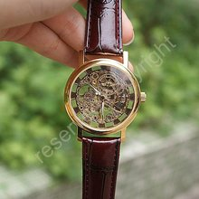 Golden Tone Hollow Skeleton Mens Lady Women Wind Up Mechanical Analog Wrist Watch Brown Leather Band Gift Wholesale Price A368(China)
