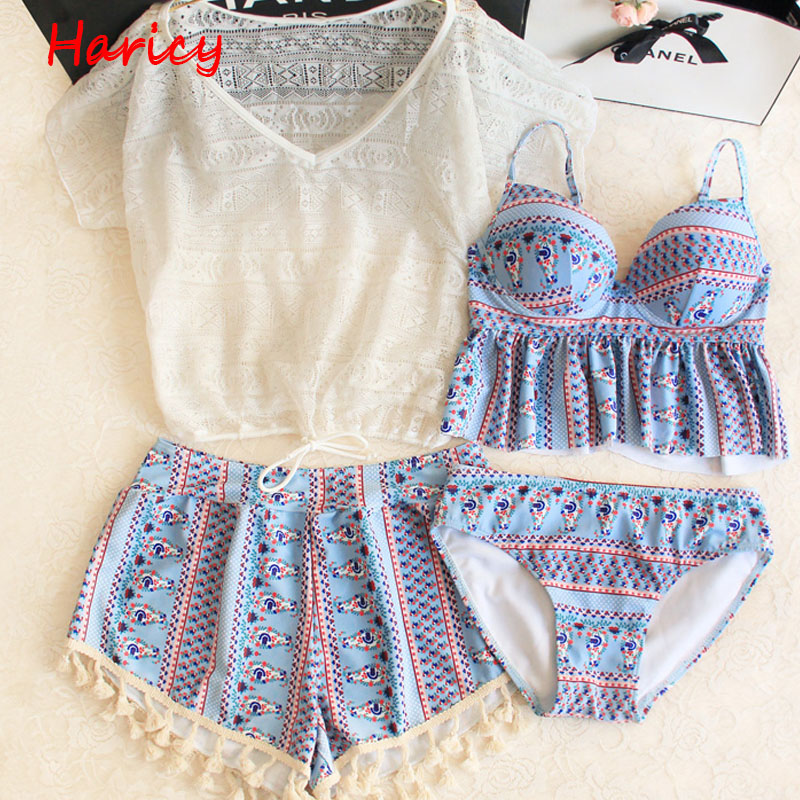 Bikinis 2017 Sexy Printed Swimsuit Female Lace Swimwear Women Brazilian Bikini Set Retro Beach Bathing Suits Swim Wear Biquini<br>