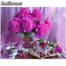 5D DIY Diamond Painting Flower Crystal Diamond Painting Cross Stitch Purple Peony vase Mosaic Kit Home Decor Embroidery CC0170