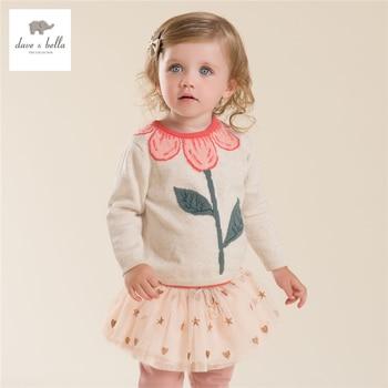 DB4013 dave bella outono bebê menina doce camisola projeto blusas criança infantil roupas de menina camisola suave de alta qualidade