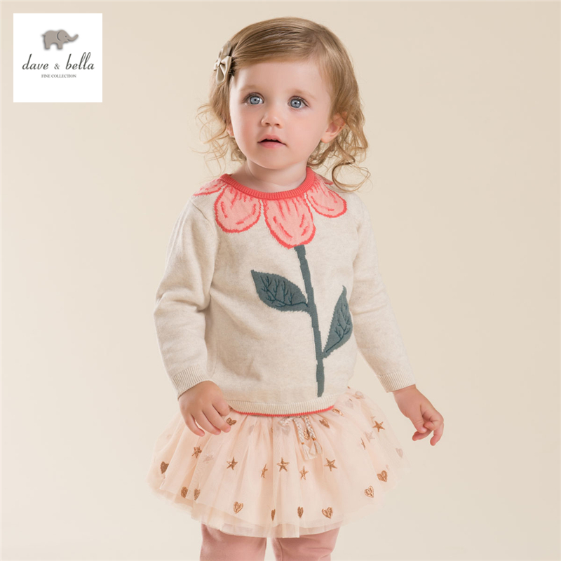 DB4013 dave bella autumn baby girl sweet design sweater  toddler sweaters infant clothes  girl soft sweater high quality<br>