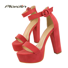 plardin New Summer Shoes Woman Retro Ankle Strap Platform Women Buckle Square Heel High Heels Fashion Casual Women's Pumps(China)