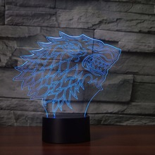 Ice Wolf Head 3D Night Light House stark of winterfell Home Decoration LED Lamp Atmosphere Lighting USB Power winter is coming(China)
