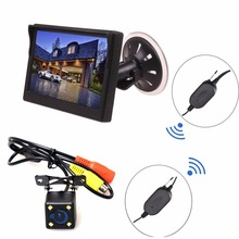 Wireless Car Auto 5 inch HD Monitor LCD TFT + Backup Camera Reverse Parking Kit LED Night Vision CCTV Safety Surveillance