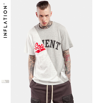 INFLATION 2017 Casual Mode Urbaine Hommes Streetwear Top T-shirts Bambou Coton T-shirts Pour Hommes Patchwork Occasionnel Lâche T-shirts