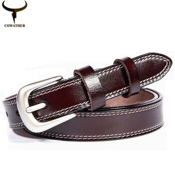 Cowather 2016 cinturones para mujeres de vaca buena calidad pin hebilla del cuero genuino del patrón de la vendimia de la correa femenina delgada envío libre