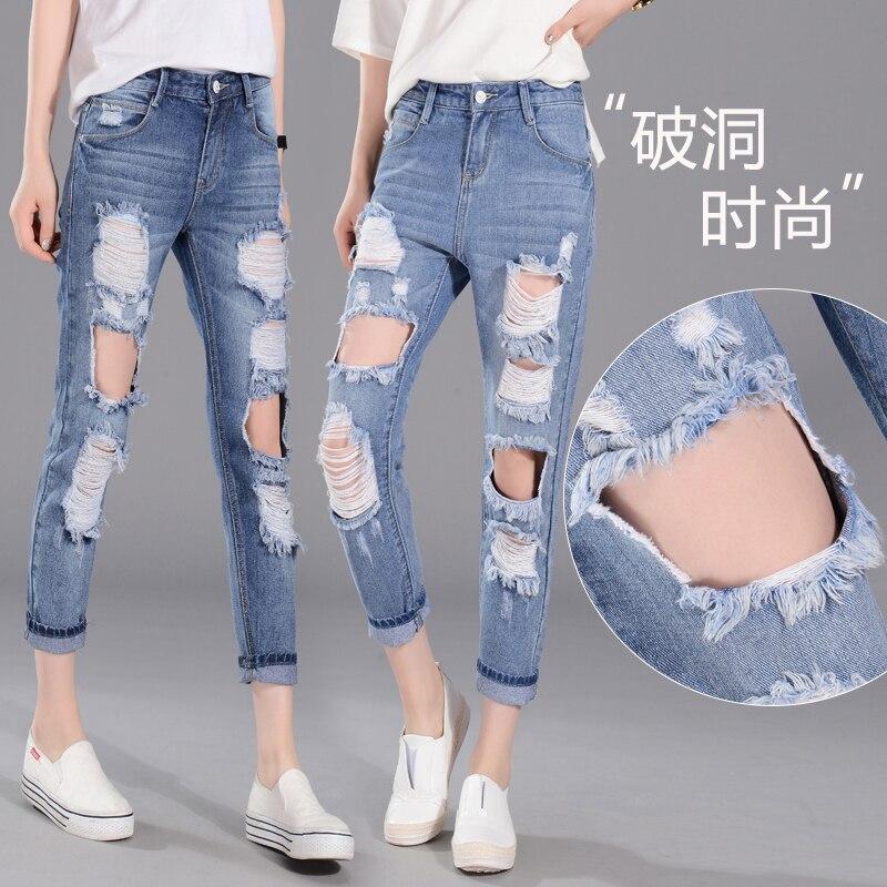 32 plus size denim jeans pants women spring autumn 2017 bermuda feminina hole thin loose haroun pants female A0929Одежда и ак�е��уары<br><br><br>Aliexpress