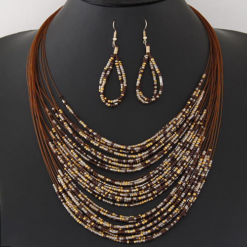 Jewelry-Sets Necklace African-Beads Bohemian Women Ladies Multilayer New-Fashion Colorful title=