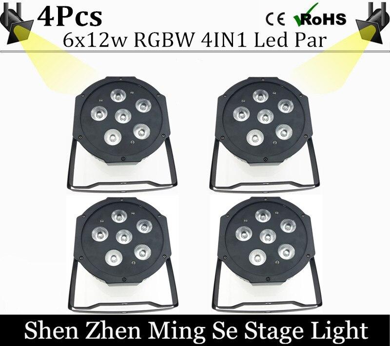 4units 6x12w led Par lights RGBw 4in1 led flat par dmx512 controller  disco lights professional stage dj equipment<br>