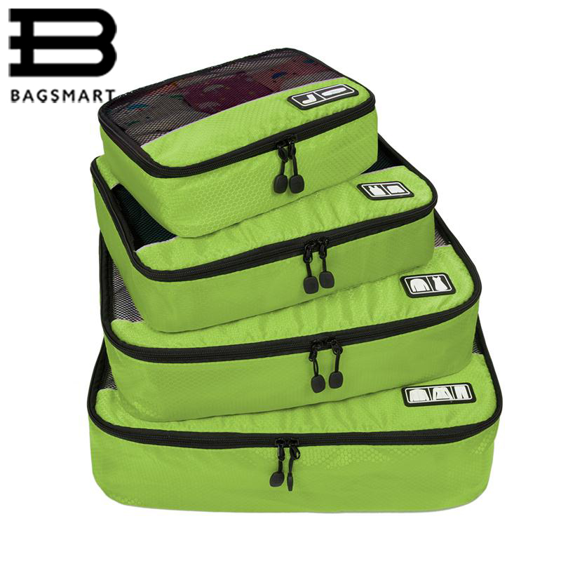 BAGSMART New Breathable Travel Bag 4 Set Packing Cubes Luggage Packing Organizers with Shoe Bag Fit 23 Carry on Suitcase<br>