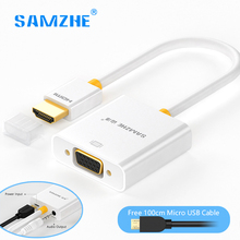 SAMZHE HDMI to VGA Converter hdmi vga Adapter 1080P with Power Audio output cable for PS4 laptop computer Monitor XBOX TV box(China)