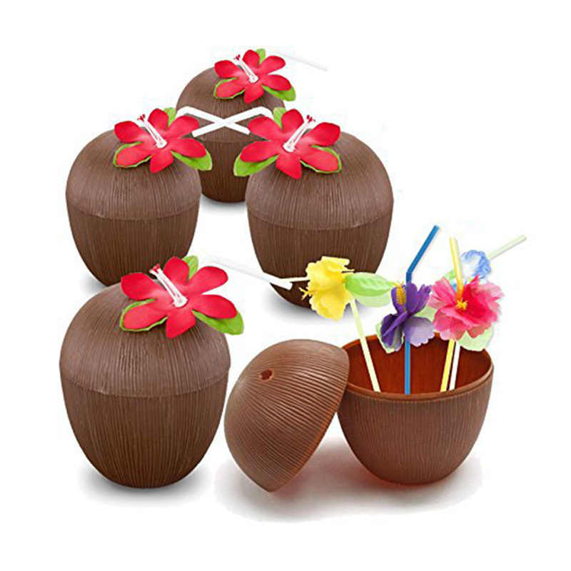 1pc Novelty Toys Tropical Fruit Shape Pineapple Coconut Drink Cups Hawaiian Luau Summer Beach Party Birthday Decorations