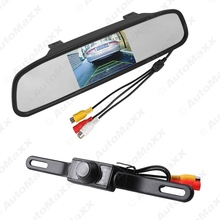 "5Set 4.3"" TFT LCD Digital Rearview Monitor With Mirror An License Plate Reversing Camera Rear View System #J-3733"