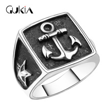 Gukin Punk Retro Men Ring Unique Boat Rivets Shape Plating Silver R ings For Women Anniversary /Christmas/New Year Gift Rings