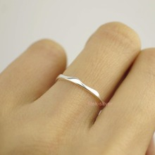 Wholesale 925 Sterling Silver Little Small Thin Wavy Knuckle Midi Mid Finger Pinkie Ring Size 2.5~10.75 A3388(China)