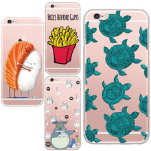 Soft TPU Transparent French fries Cute Sea Turtle Totoro Pattern Phone Cover For Apple iphone 5 5s 6 6s 7 Plus Coque Funda Case