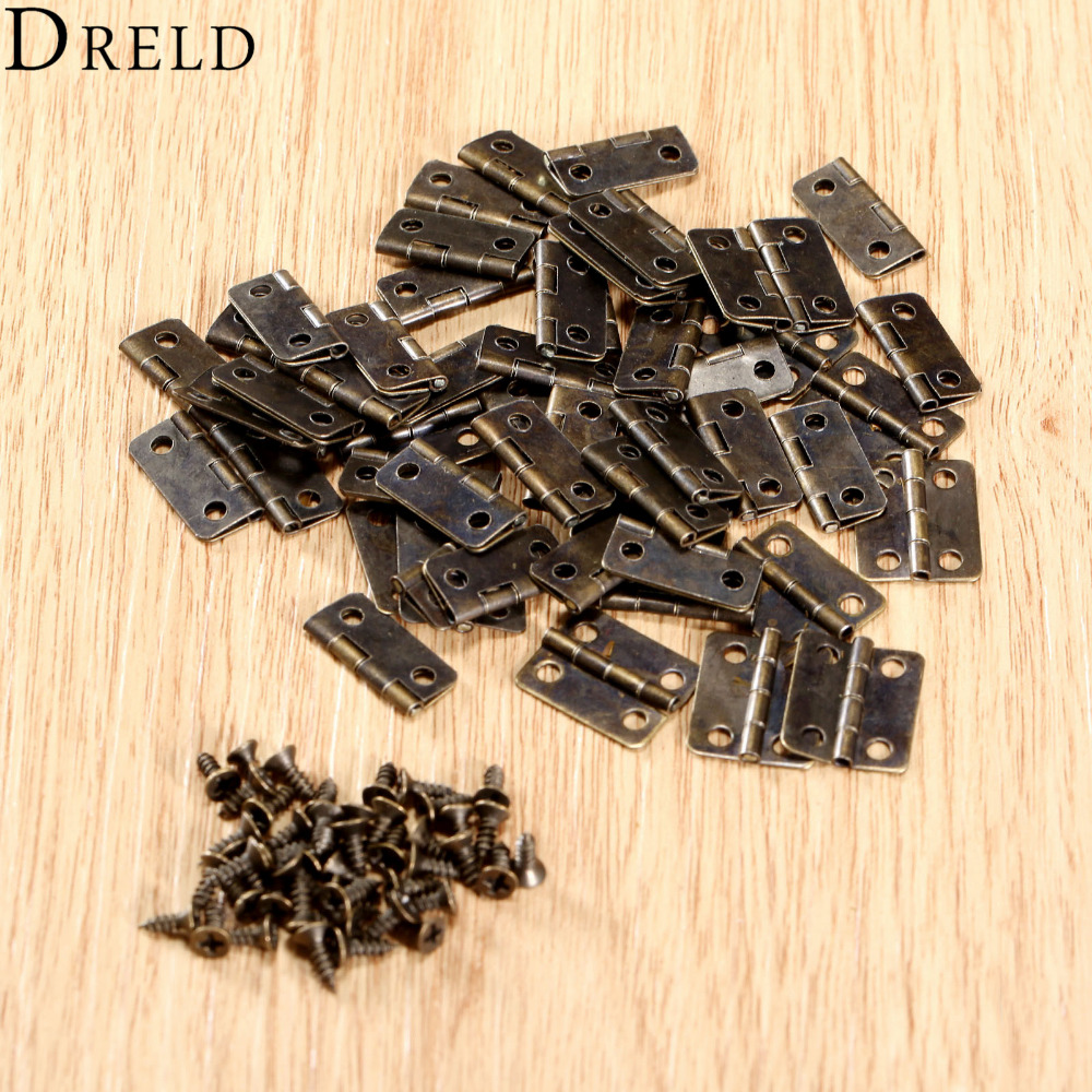 50Pcs 16x13mm Antique Bronze/Gold Cabinet Hinges Furniture Accessories Jewelry Boxes Small Hinge Furniture Fittings For Cabinets(China)