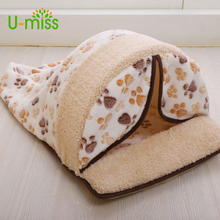 U-miss Sweet Style Winter Warm Pet Cat Bed Small Dog Kennel Pet House Kitten Home Puppy Cushion Mats Sofa Cat Living Pet Place