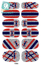 Rocooart Y5086 Fashion Women Adhesive Nail Art Tip Stickers Glitter Old Retro UK Flag Nail Wraps Sticker Manicure Decor Decal