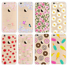 Newest Fashion For 7 plus Phone Cases soft TPU for Apple iPhone 5s 6 6S case For iphone 6S Plus case Waterproof Flower Pattern