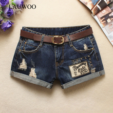 LAUWOO 2017 Summer Sexy short Women's Trendy Hole Denim Shorts Retro patch Shorts Black rivet Jean Low waist Shorts Without Belt