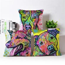 Paiting Dog Cushion Covers Sofa Throw Pillows Decorative Throw Pillow Covers Pillowcase Garden Furniture Cushions For Car Seat(China)