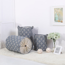 Waterproof Canvas Beam Laundry Basket Tree   Pattern Cotton Linen Washing Clothes Storage Basket