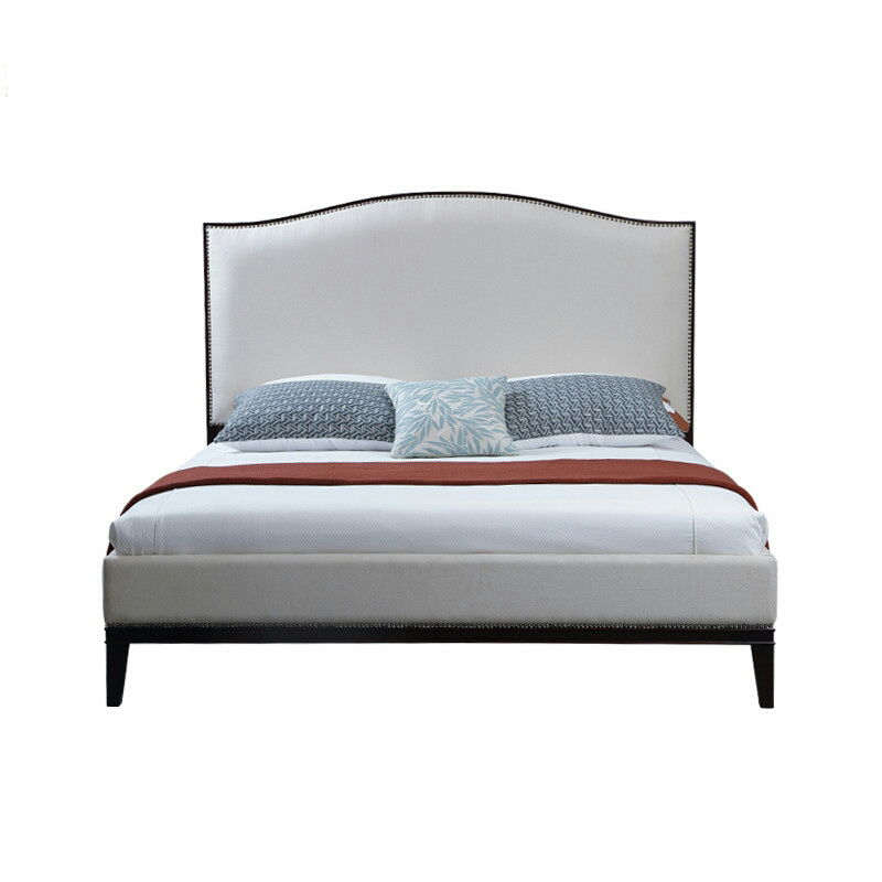 grey tufted bed