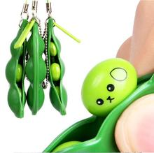 Funny Green Beans Mini Squishy Soft Toys Pendants Anti Stress Ball Squeeze Funny Gadgets Phone Strap  For All Smartphone