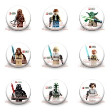 9pcs Cool Star Wars Heroes Hot Cartoon Badges Pins Bag/Clothes Accessory 30MM Round Buttons Kids Gift Party Favors(China)