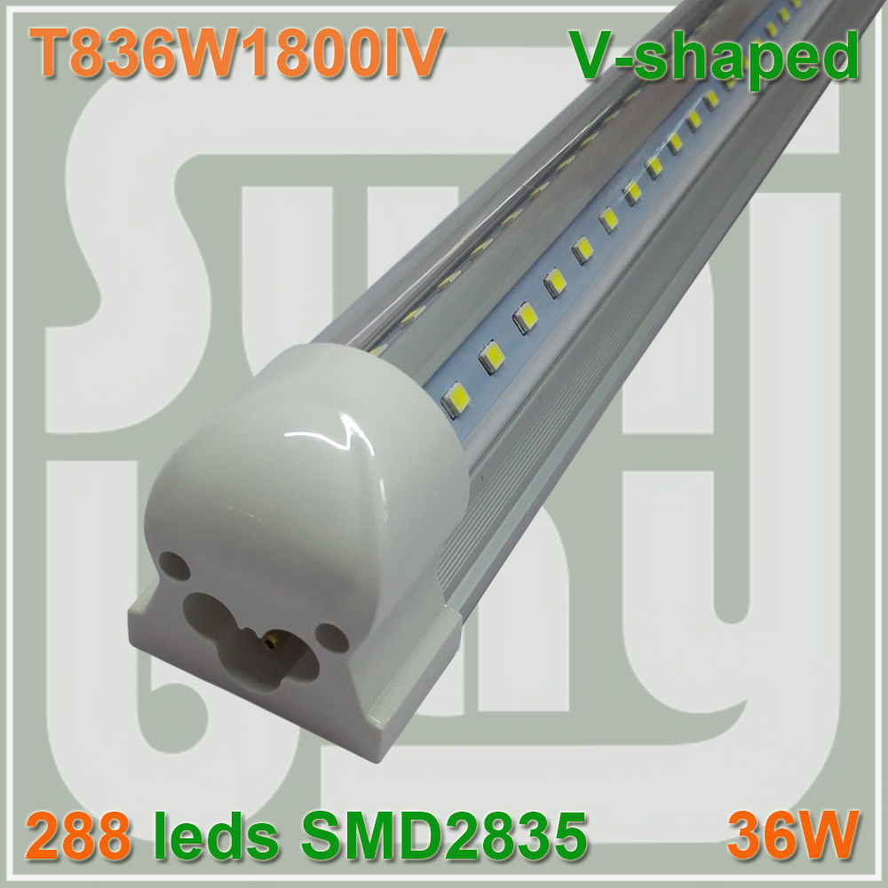 Free shipping T8 V shaped Integrated Tube bulb lights 36W 6FT 1800mm 85-277v Double line SMD2835 with accessory 270 angle lamp<br><br>Aliexpress