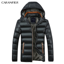 CARANFIER 2017 New Men Parka Winter Thick Collar Jacket Smart Casual Cotton Coat England Style Breathable Warm Male Jacket M~4XL(China)