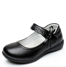 2017 Children Girls Genuine Leather Shoes For Kids Girls Dress Shoes Lovely Bowknot Black Flat Dancing Shoes For Wide Foot TX02