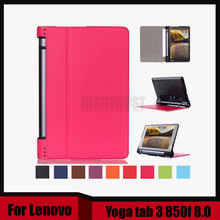 "3 in 1 New Ultra thin smart Pu leather case cover For 2015 Lenovo Yoga tab 3 850f 8.0"" tablet pc + Stylus + Screen Film(China)"