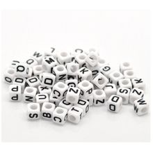 500PCs Random White Acrylic Engraved Alphabet Cube Beads For Jewelry Making Hand Made Beads Fit DIY Accessories 6x6mm