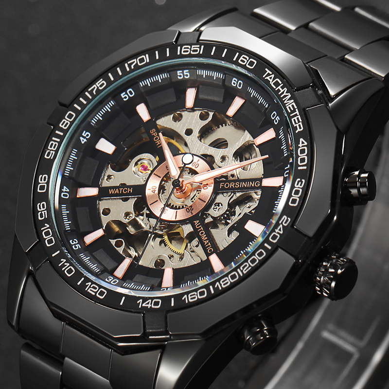 2017 Top Brand Luxury Stylish Classic Mens Black Watch Automatic Skeleton Mechanical Male Wrist watch Man relogio masculino<br><br>Aliexpress