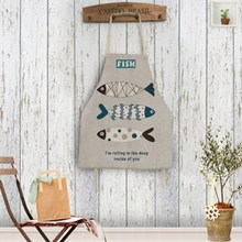 Funny Fish Print Cotton Linen Apron Fashionable Working Aprons 71x58cm Home Kitchen Cooking Baking Oi Proof Unisex 5 Styles(China)