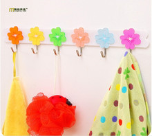 1PC Flower Shape Plastic wall shelf 6 hook Clothes Hook Hanger key holder kitchen bathroom accessories home decor LF 051 - SHANGHAI EXTRO TRADE CO.,LTD. store