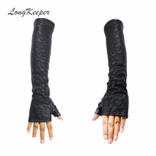 Ladies' Leather Gloves Half Finger Women Winter Gloves Fingerless Lace Sleeves Black Mittens for Party Dancing Elbow Length S203(China)