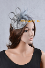 NEW 20 colours Silver Sinamay Feather Fascinator Hat for Ascot Races,Melbourne Cup,Kentucky Derby wedding party.FREE SHIPPING