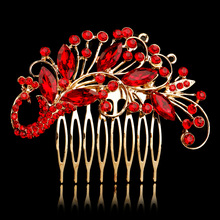 Chinese Red Vintage Crystal Peacock Shape Engagement Wedding Tiara Sparking Hair Comb Bridal Hair Accessories(China)