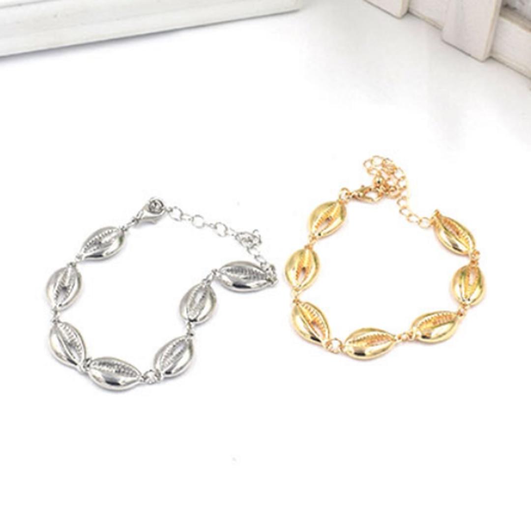 Trendy Boho Women Beach Cowrie Sea Shell Bracelet Bangle Jewelry Summer Beach Party Gift Accessories Shellhard Chain Jewellery