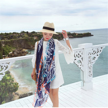 Luxury Silk Chiffon Women Scarf Fashion Tiger Head Gradient Chiffon Shawl Summer Beach Sun Block Pashmina 180cm Long Stole Wrap
