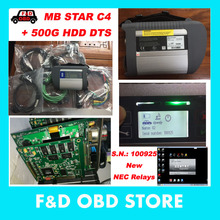 High level mb star c4 connect full set + 2017.07 DAS HDD 500G SD Compact C4 with WIFI in stock mb star c4 software DTS free gift